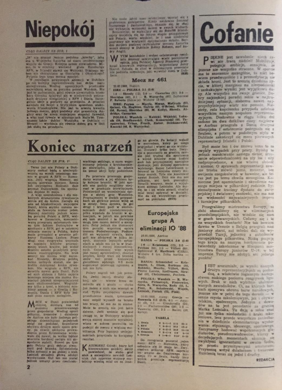 Piłka Nożna po meczu Irlandia - Polska 3:1 (22.05.1988).