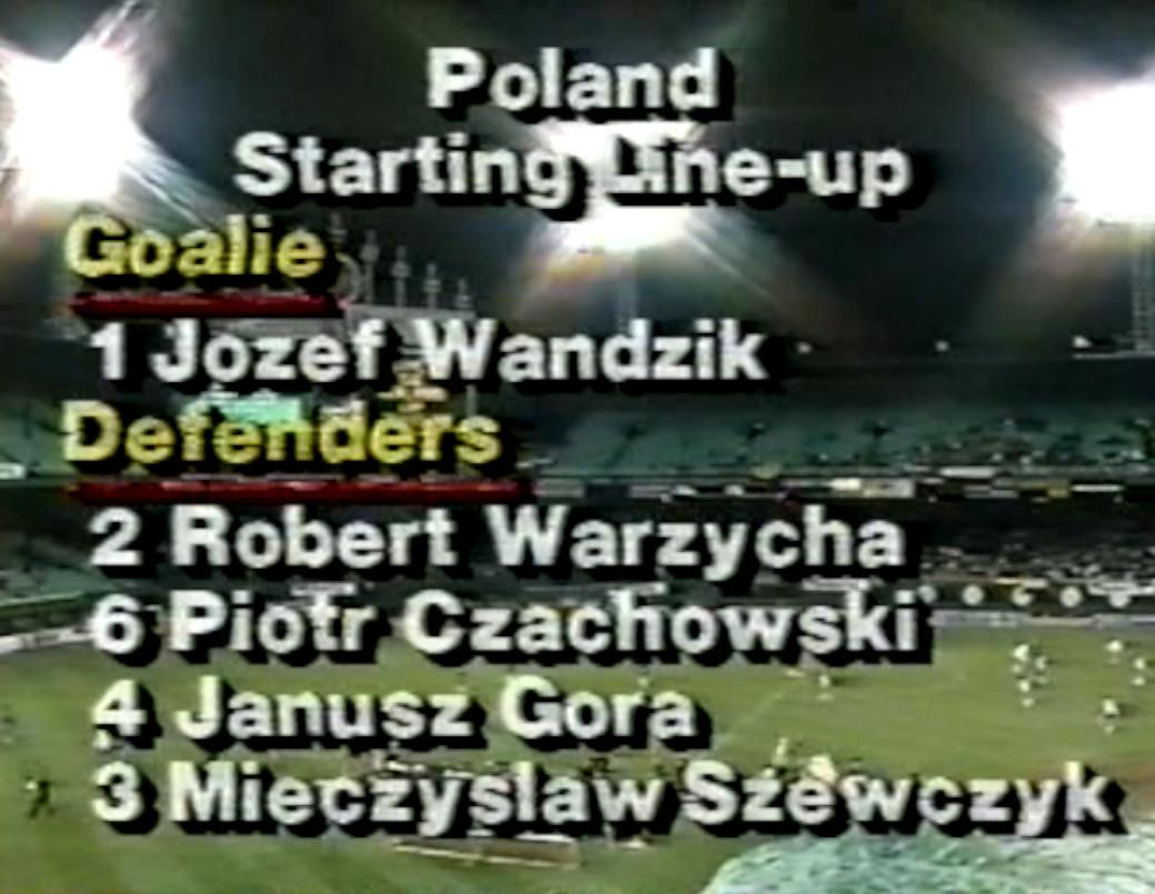 plansza ze składem meczu polska - kolumbia 1:2 (04.05.1990)
