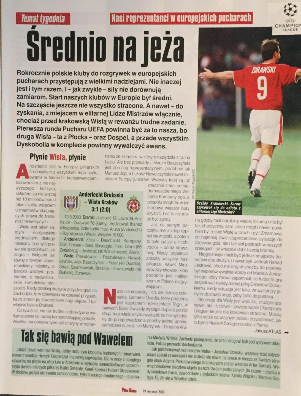 Piłka Nożna po meczu Anderlecht – Wisła Kraków 3:1 (13.08.2003).
