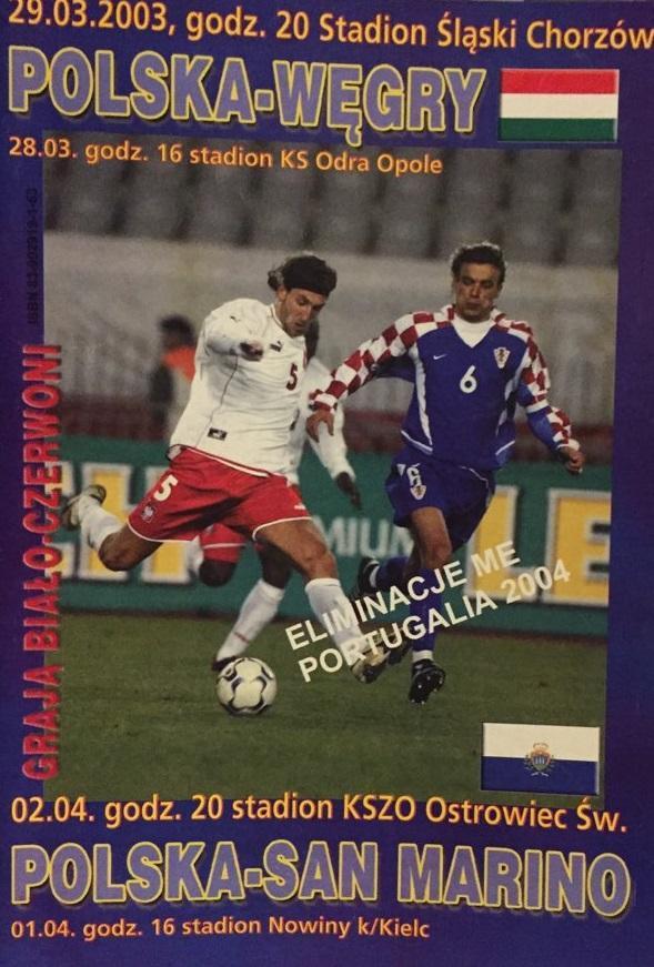 Program do meczu Polska – Węgry 0:0 (29.03.2003)