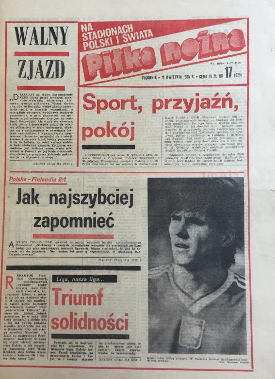 okładka piłki nożnej po meczu polska - finlandia (17.04.1985)