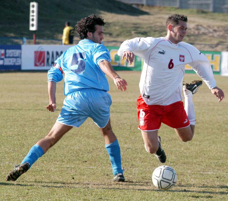 Tomasz Mazurkiewicz podczas meczu Polska - San Marino 7:0 U-21 (01.04.2003)