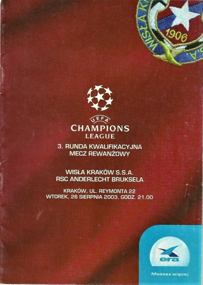 Program meczowy Wisła Kraków – Anderlecht 0:1 (26.08.2003)