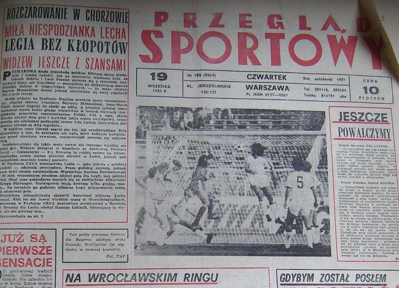 Przegląd Sportowy po Górnik Zabrze – Bayern Monachium 1:2 (18.09.1985) 1