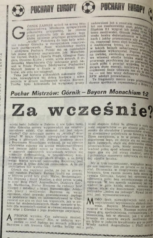 Piłka Nożna po Górnik Zabrze – Bayern Monachium 1:2 (18.09.1985) 1