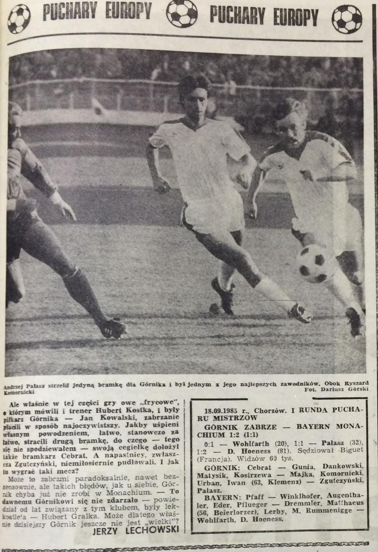 Piłka Nożna po Górnik Zabrze – Bayern Monachium 1:2 (18.09.1985) 2