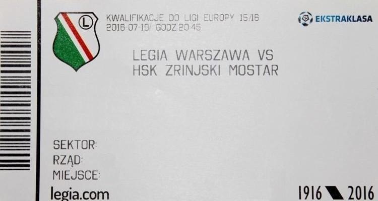 Bilet z meczu Legia Warszawa – Zrinjski Mostar 2:0 (19.07.2016).