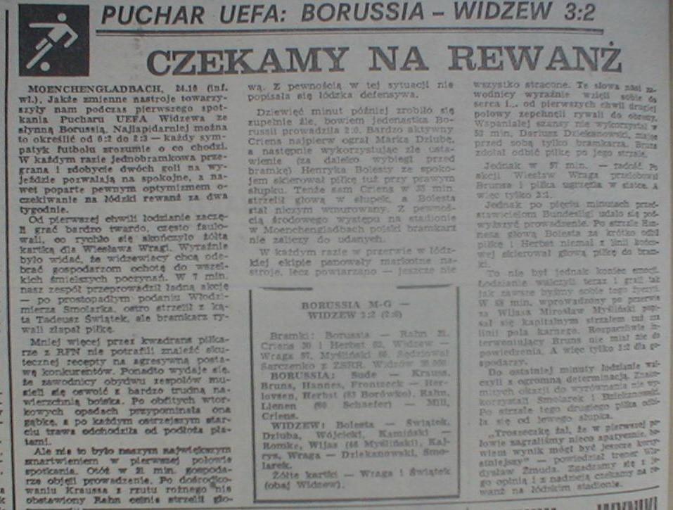 Borussia Mönchengladbach – Widzew Łódź 3:2 (24.10.1984) Przegląd Sportowy