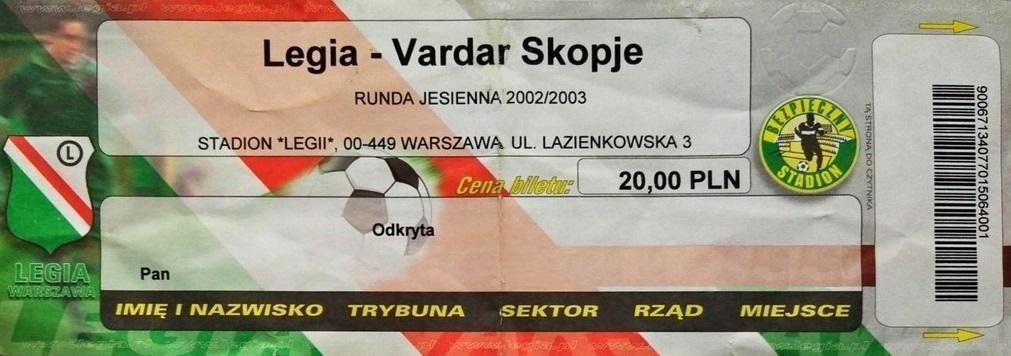 Bilet z meczu Legia Warszawa – Vardar Skopje 1:1 (07.08.2002)