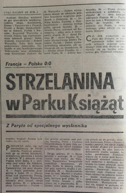 piłka nożna po meczu francja - polska (15.08.1990)