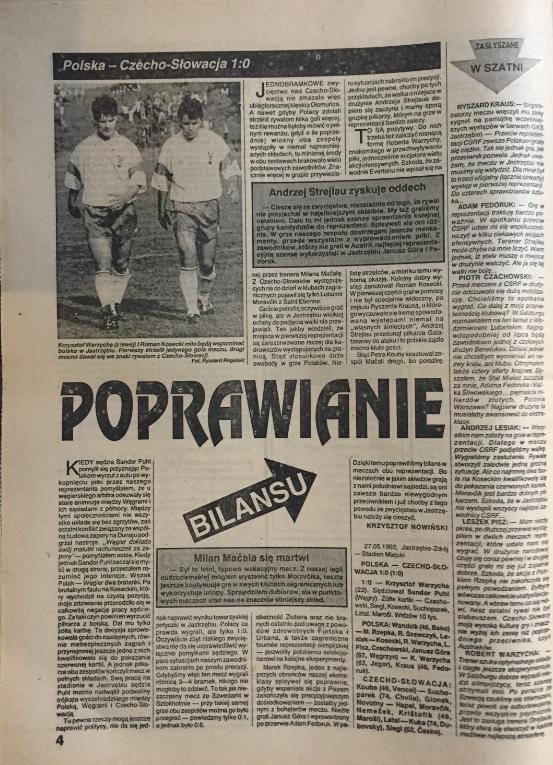 piłka nożna po meczu polska – czechosłowacja (27.05.1992)