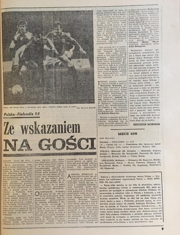 piłka nożna po meczu polska – finlandia (13.03.1991)