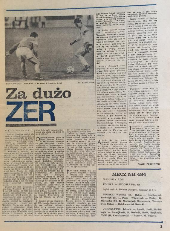piłka nożna po meczu polska – jugosławia (28.03.1990)