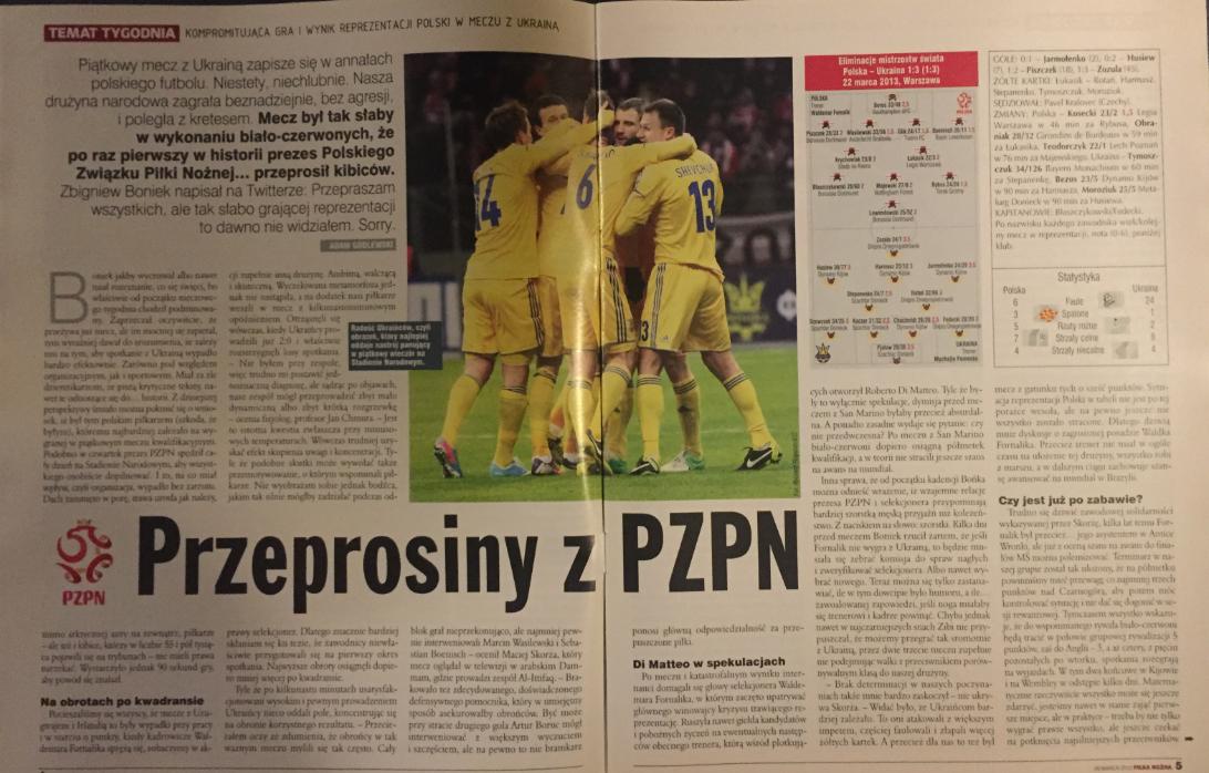 piłka nożna po meczu polska – ukraina (22.03.2013)