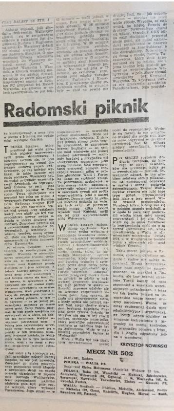 piłka nożna po meczu polska – walia (29.05.1991)
