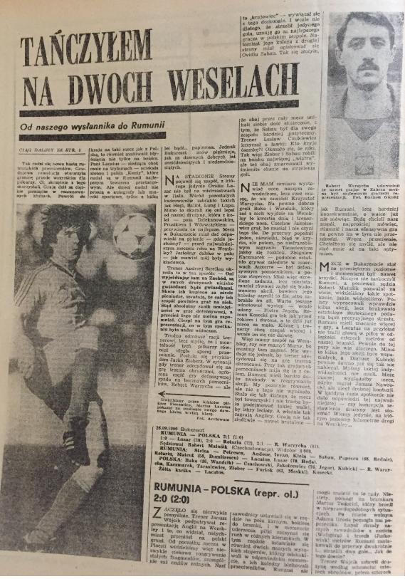 piłka nożna po meczu rumunia – polska (26.09.1990)