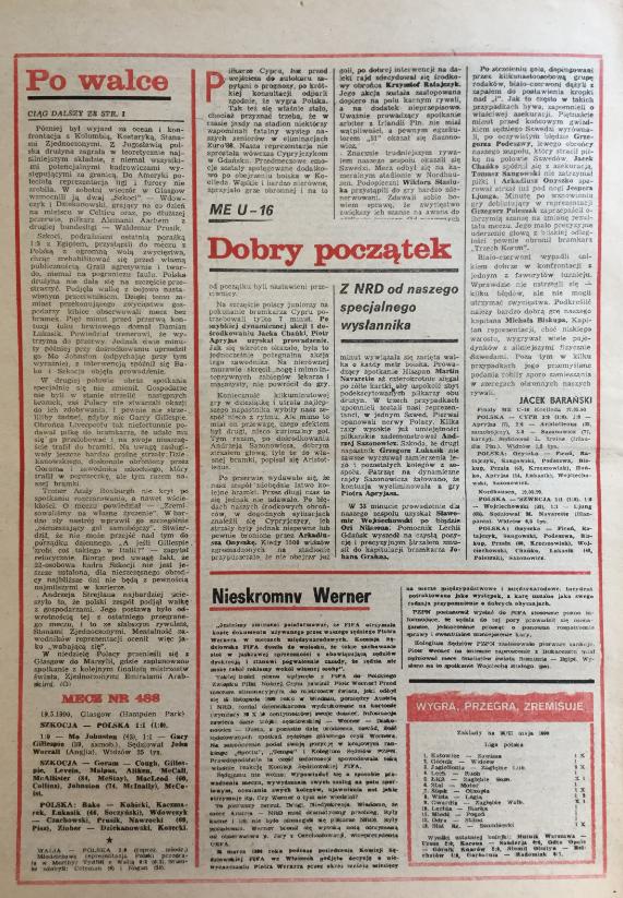piłka nożna po meczu szkocja – polska (19.05.1990)
