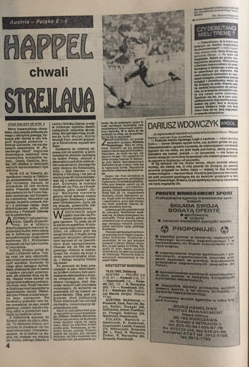 piłka nożna po meczu austria – polska (19.05.1992)