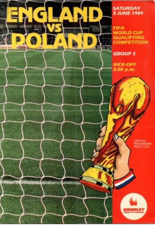 program z meczu anglia – polska (03.06.1989)