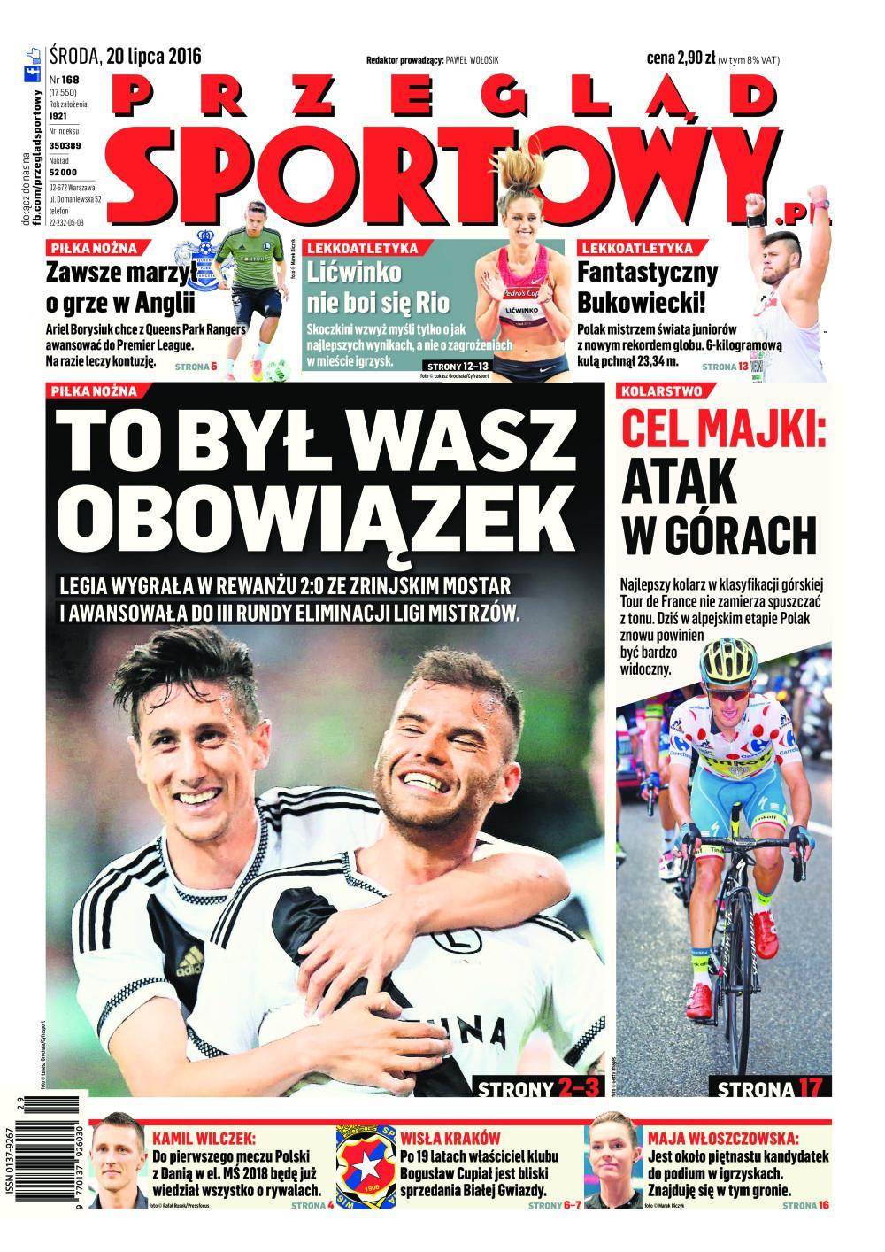 Okładka Przegląd Sportowy po meczu Legia Warszawa – Zrinjski Mostar 2:0 (19.07.2016)