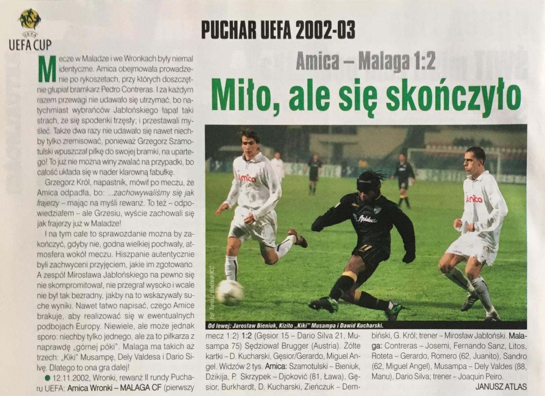 Amica Wronki - Malaga CF 1:2 (12.11.2002) Piłka Nożna