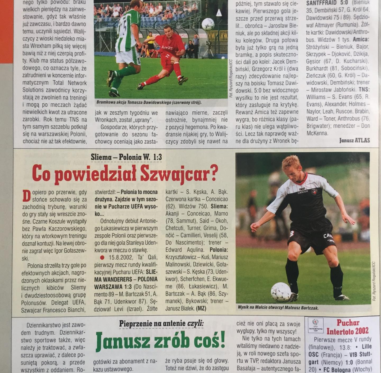 Piłka Nożna po Sliema Wanderers - Polonia Warszawa 1:3 (15.08.2002)