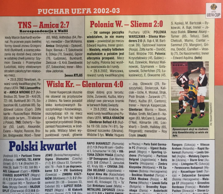 Piłka Nożna po Polonia Warszawa - Sliema Wanderers 2:0 (29.08.2002)