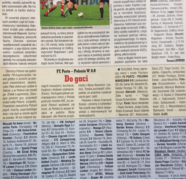 FC Porto - Polonia Warszawa 6:0 (19.09.2002)
