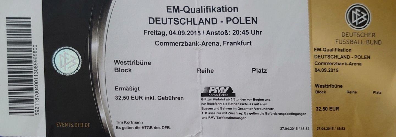 Bilet z meczu Niemcy - Polska 3:1 (04.09.2015).