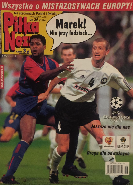 Okładka Piłka Nożna po meczu Legia Warszawa – FC Barcelona 0:1 (28.08.2002)