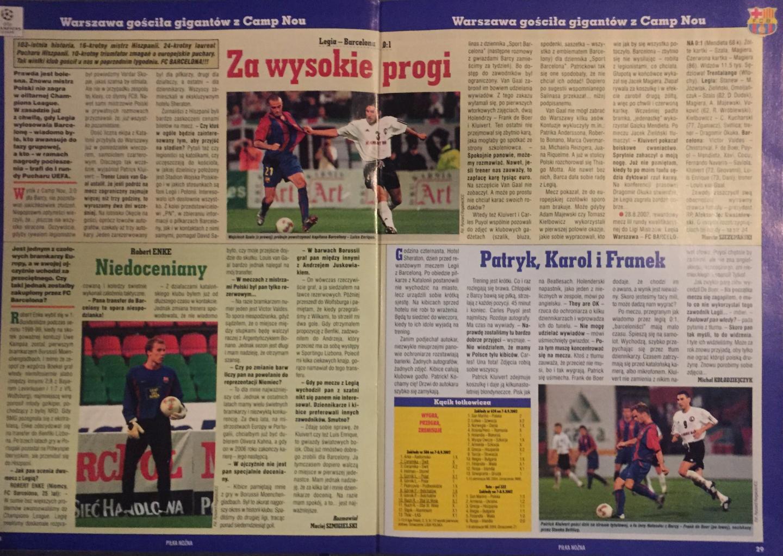 Piłka Nożna po meczu Legia Warszawa – FC Barcelona 0:1 (28.08.2002)