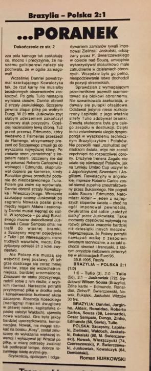 piłka nożńa po meczu brazylia - polska (29.06.1995)