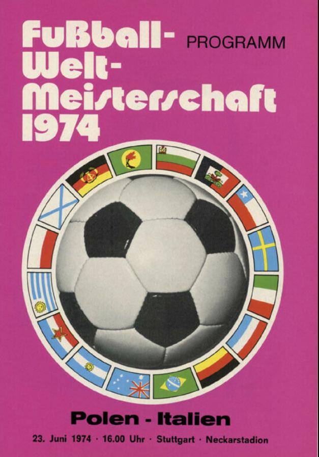 program z meczu polska - włochy (23.06.1974)