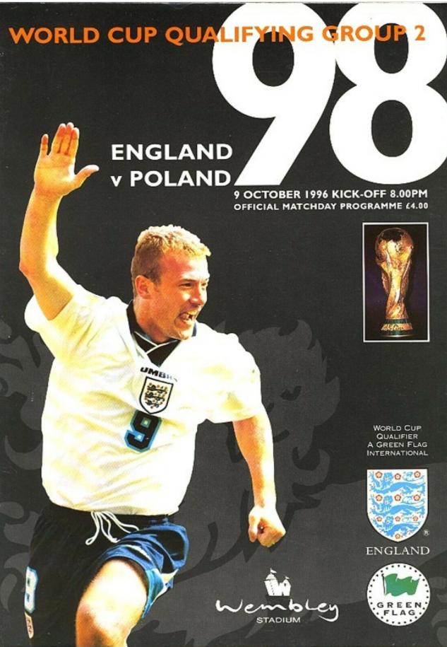program z meczu anglia - polska (09.10.1996)