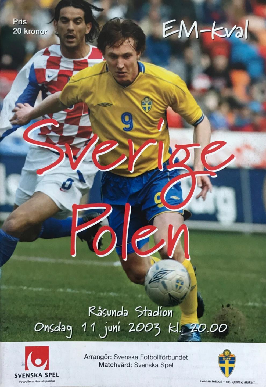 Program meczowy Szwecja - Polska 3:0 (11.06.2003).