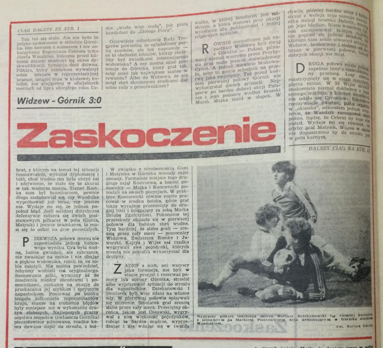 Widzew Łódź - Górnik Zabrze 3:0 (03.04.1985) Piłka Nożna