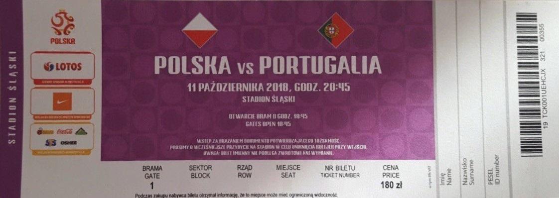 Bilet z meczu Polska - Portugalia 2:3 (11.10.2018).