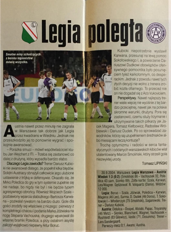 Piłka Nożna po meczu Legia Warszawa - Austria Wiedeń 1:3 (30.09.2004).