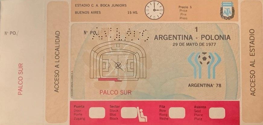 Bilet z meczu Argentyna - Polska 3:1 (29.05.1977).