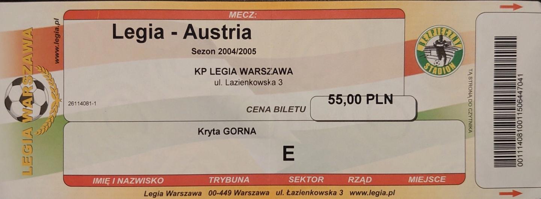 Bilet z meczu Legia Warszawa - Austria Wiedeń 1:3 (30.09.2004).