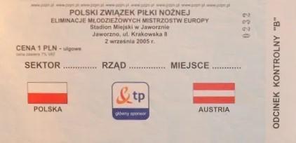 Bilet z meczu Polska - Austria 2:2 U21 (02.09.2005).
