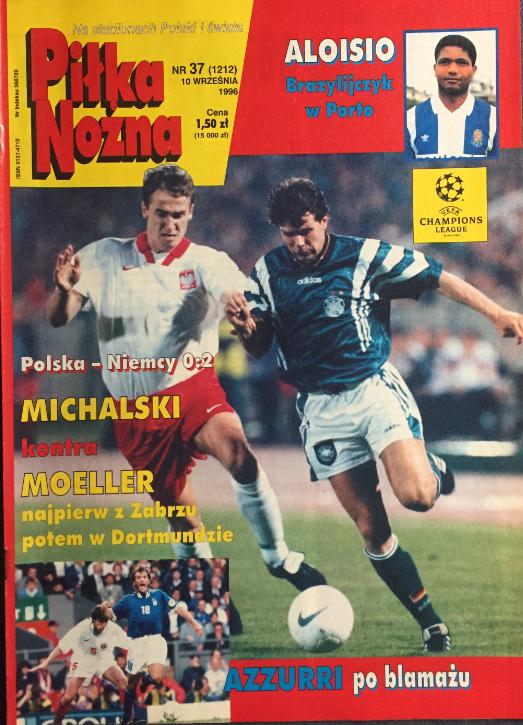 okładka piłki nożnej po meczu polska - niemcy (04.09.1996)