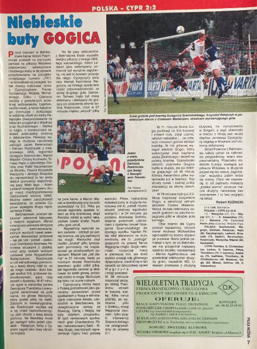 piłka nożna po meczu polska - cypr (27.08.1996)