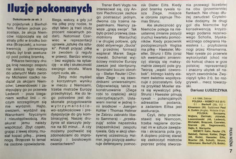 piłka nożna po meczu polska - niemcy (04.09.1996)