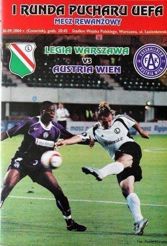 Program meczowy Legia Warszawa - Austria Wiedeń 1:3 (30.09.2004).
