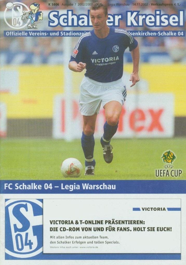 Program meczowy Schalke 04 Gelsenkirchen - Legia Warszawa 0:0 (14.11.2002).