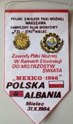 Proporczyk z meczu Polska - Albania 2:2 (31.10.1984).