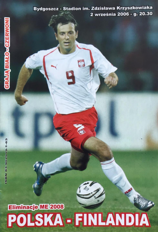 Program meczowy Polska - Finlandia 1:3 (02.09.2006)