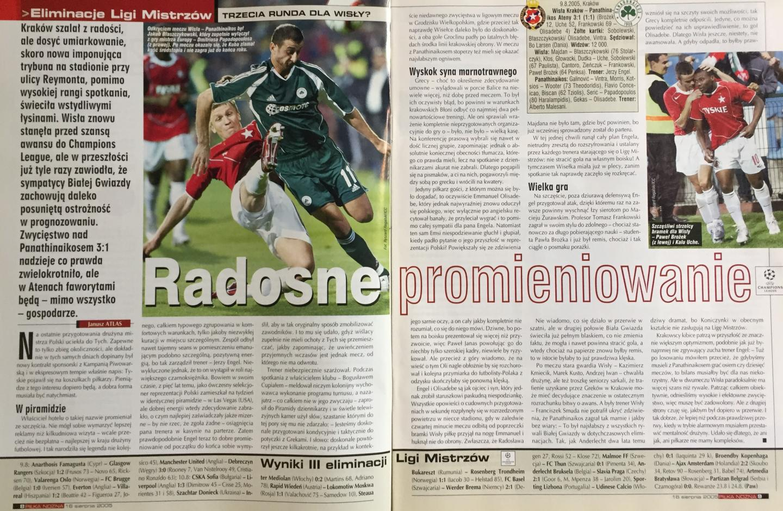 Piłka Nożna po Wisła Kraków - Panathinaikos Ateny 3:1 (09.08.2005) 2