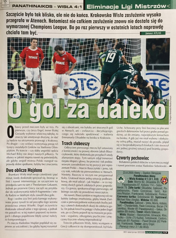 Piłka Nożna po Panathinaikos Ateny - Wisła Kraków 4:1 (23.08.2005) 2